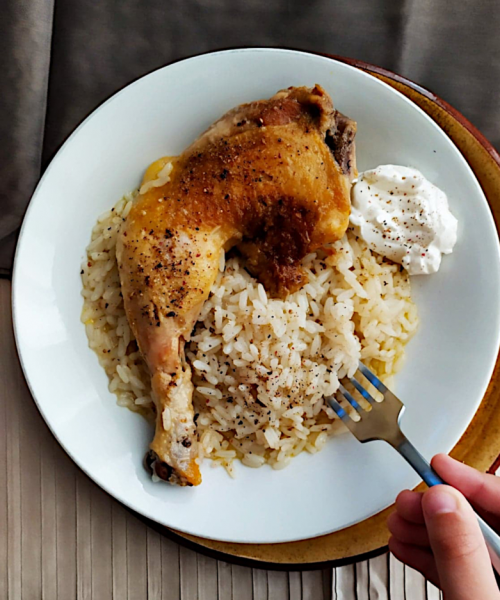 Chicken with lemon dressing and rice
